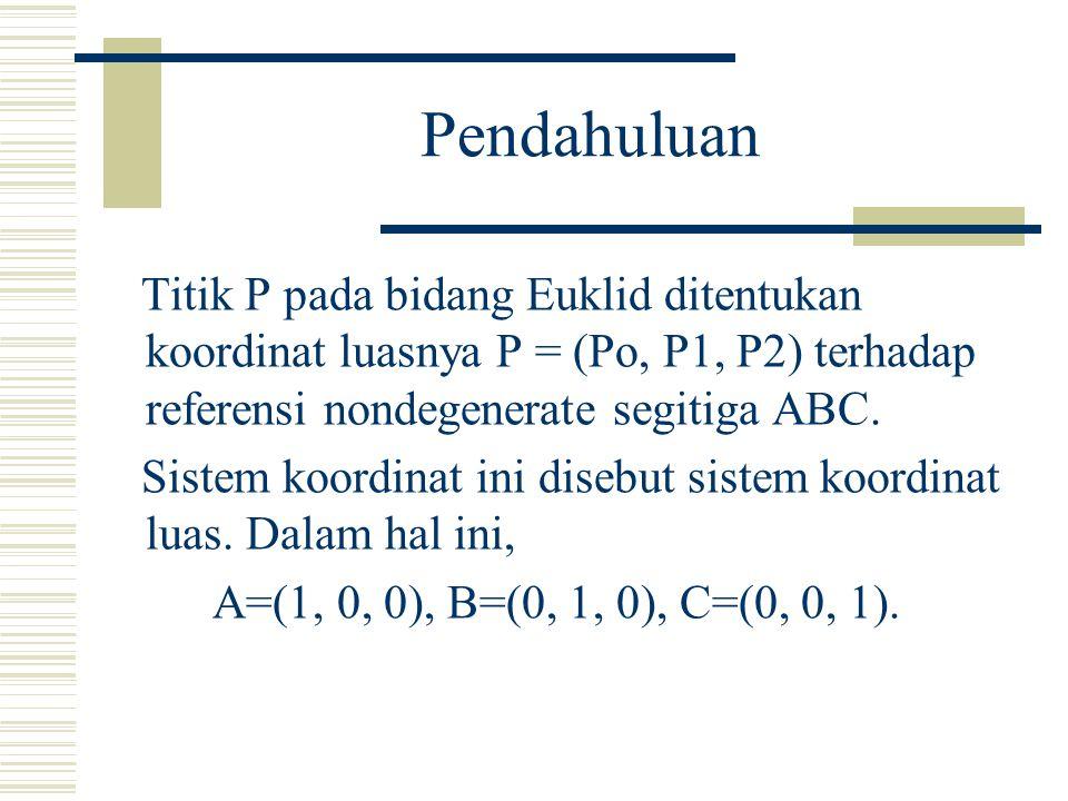 Pendahuluan Titik P pada bidang Euklid ditentukan koordinat luasnya P = (Po, P1, P2) terhadap referensi nondegenerate segitiga ABC.