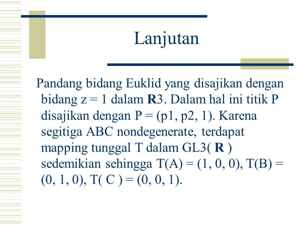 Pendahuluan Titik P pada bidang Euklid ditentukan koordinat luasnya P = (Po, P1, P2) terhadap referensi nondegenerate segitiga ABC. Sistem koordinat i