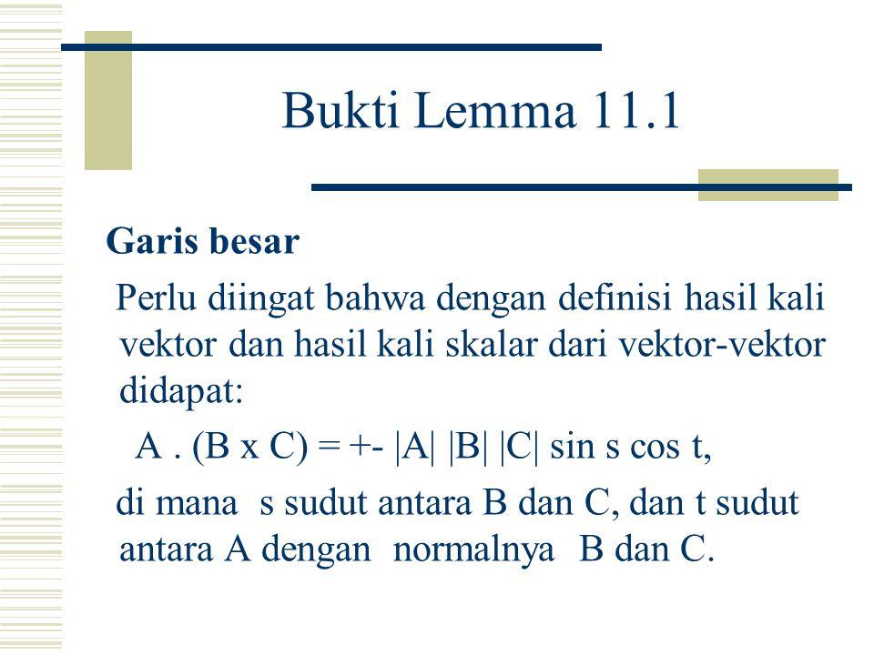 Lemma 11.1 Luas bertanda dari segitiga sembarang ABC pada bidang z = 1 dalam R3 diberikan dalam bentuk setengah determinan di mana determinan tersebut