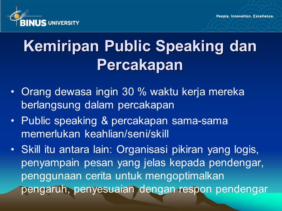 Kemiripan Public Speaking dan Percakapan Orang dewasa ingin 30 % waktu kerja mereka berlangsung dalam percakapan Public speaking & percakapan sama-sam
