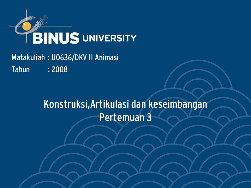 Konstruksi,Artikulasi dan keseimbangan Pertemuan 3 Matakuliah: U0636/DKV II Animasi Tahun: 2008