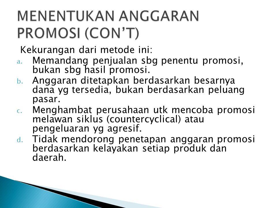 Kekurangan dari metode ini: a. Memandang penjualan sbg penentu promosi, bukan sbg hasil promosi. b. Anggaran ditetapkan berdasarkan besarnya dana yg t