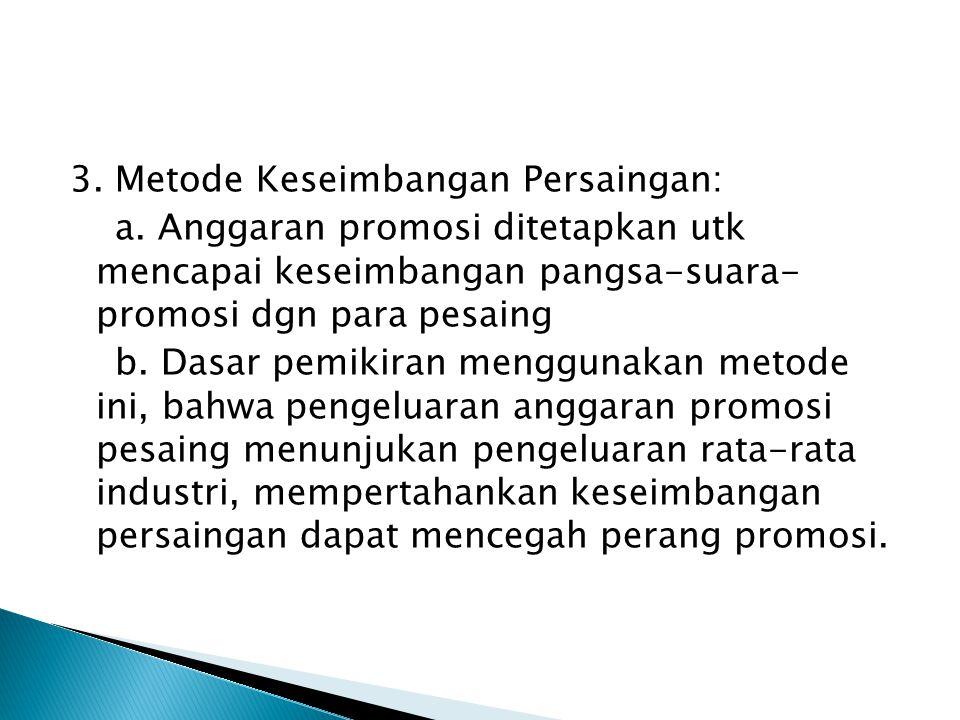 3. Metode Keseimbangan Persaingan: a. Anggaran promosi ditetapkan utk mencapai keseimbangan pangsa-suara- promosi dgn para pesaing b. Dasar pemikiran