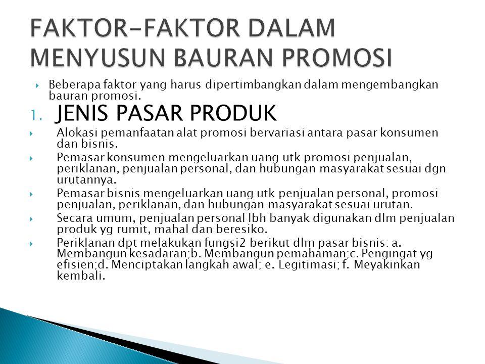  Beberapa faktor yang harus dipertimbangkan dalam mengembangkan bauran promosi. 1. JENIS PASAR PRODUK  Alokasi pemanfaatan alat promosi bervariasi a