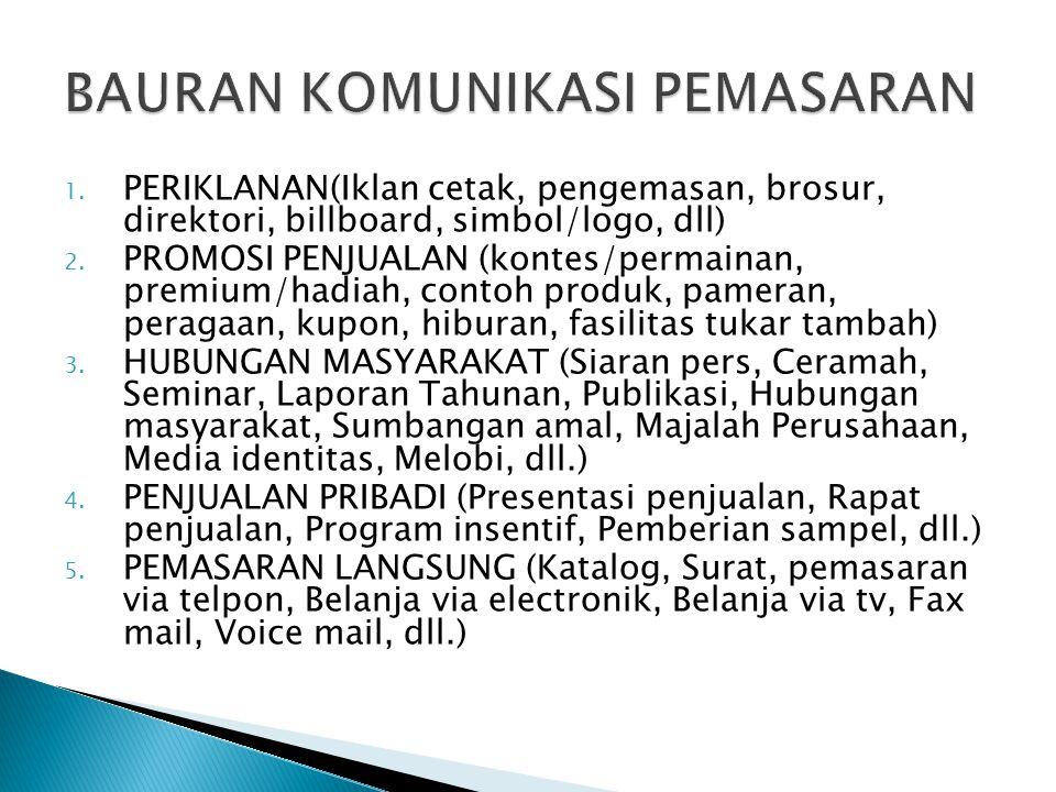1.PERIKLANAN(Iklan cetak, pengemasan, brosur, direktori, billboard, simbol/logo, dll) 2.