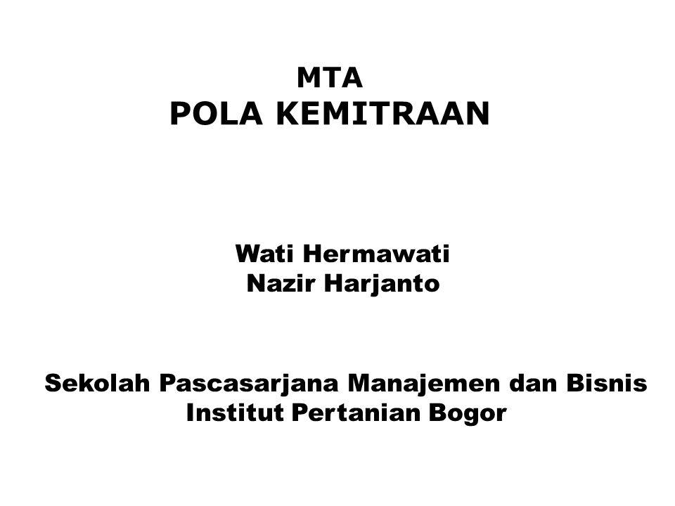 Sekolah Pascasarjana Manajemen dan Bisnis Institut Pertanian Bogor MTA POLA KEMITRAAN Wati Hermawati Nazir Harjanto