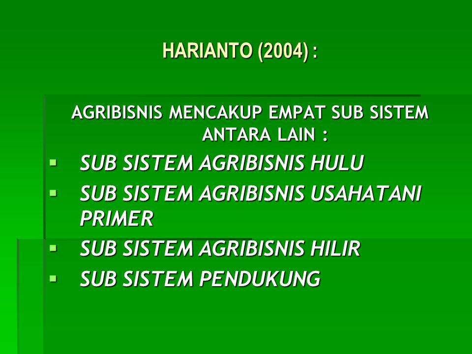HARIANTO (2004) : AGRIBISNIS MENCAKUP EMPAT SUB SISTEM ANTARA LAIN :  SUB SISTEM AGRIBISNIS HULU  SUB SISTEM AGRIBISNIS USAHATANI PRIMER  SUB SISTE