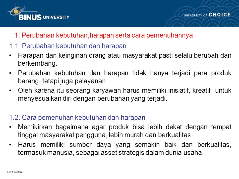 Bina Nusantara 2.Faktor pemicu terjadinya perubahan 2.1.