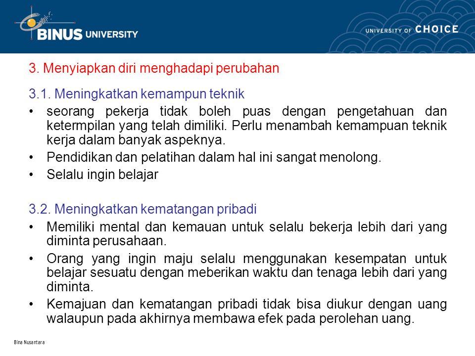 Bina Nusantara 4.Meningkatkan produktivitas 4.1. mulai dengan disiplin diri 4.2.