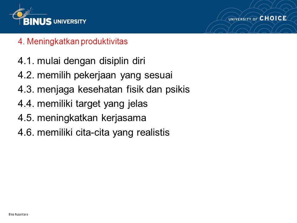 Bina Nusantara 4. Meningkatkan produktivitas 4.1.