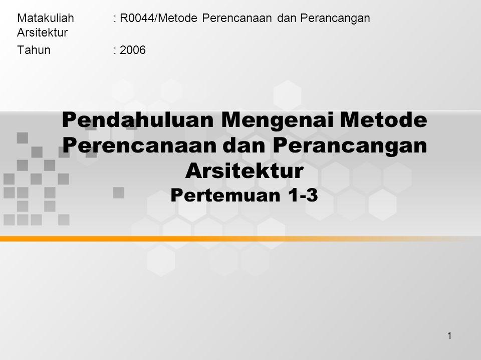 1 Pendahuluan Mengenai Metode Perencanaan dan Perancangan Arsitektur Pertemuan 1-3 Matakuliah: R0044/Metode Perencanaan dan Perancangan Arsitektur Tahun: 2006