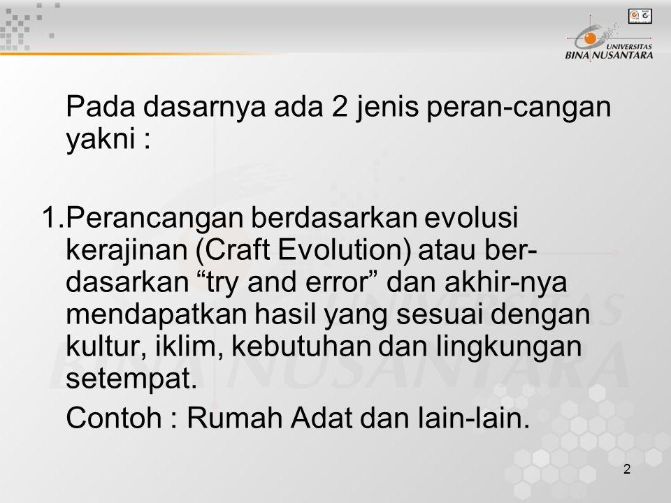 2 Pada dasarnya ada 2 jenis peran-cangan yakni : 1.Perancangan berdasarkan evolusi kerajinan (Craft Evolution) atau ber- dasarkan try and error dan akhir-nya mendapatkan hasil yang sesuai dengan kultur, iklim, kebutuhan dan lingkungan setempat.