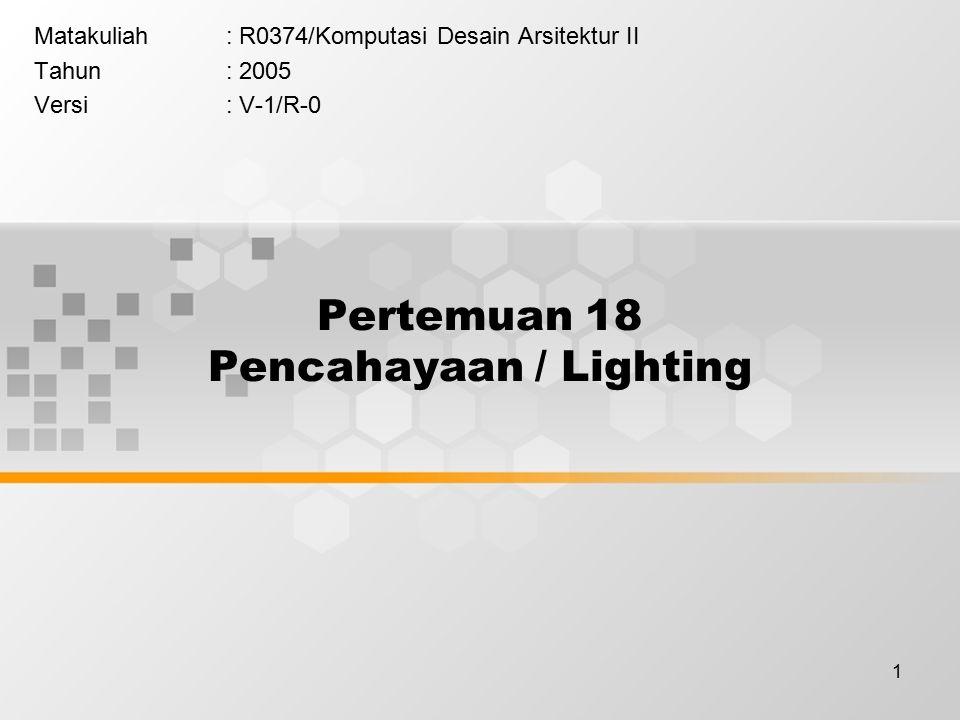 1 Pertemuan 18 Pencahayaan / Lighting Matakuliah: R0374/Komputasi Desain Arsitektur II Tahun: 2005 Versi: V-1/R-0