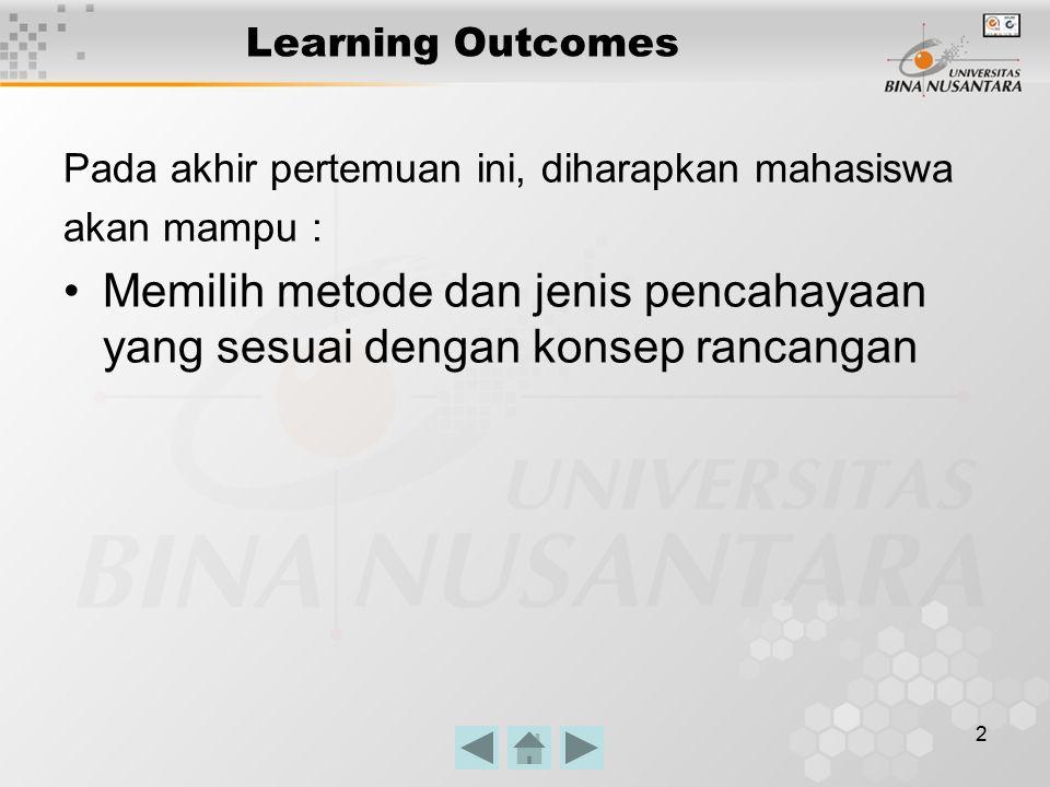 2 Learning Outcomes Pada akhir pertemuan ini, diharapkan mahasiswa akan mampu : Memilih metode dan jenis pencahayaan yang sesuai dengan konsep rancangan
