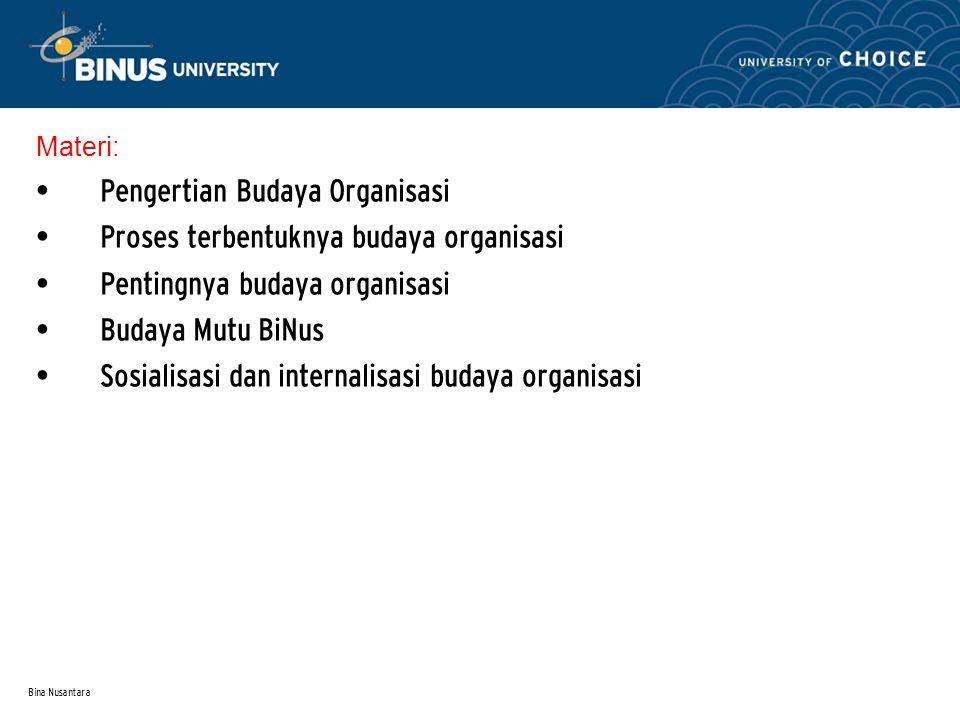 Bina Nusantara Materi: Pengertian Budaya Organisasi Proses terbentuknya budaya organisasi Pentingnya budaya organisasi Budaya Mutu BiNus Sosialisasi d