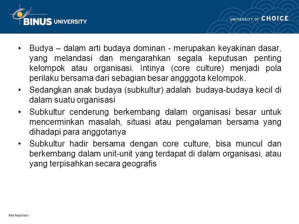 Bina Nusantara 2.Proses terjadinya budaya organisasi 2.1.Peran penting dari pendiri.