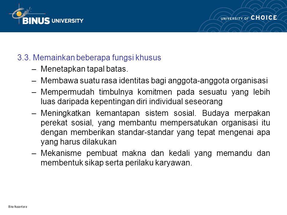 Bina Nusantara 4.Sosialisasi dan internalisasi budaya organisasi 2.1.