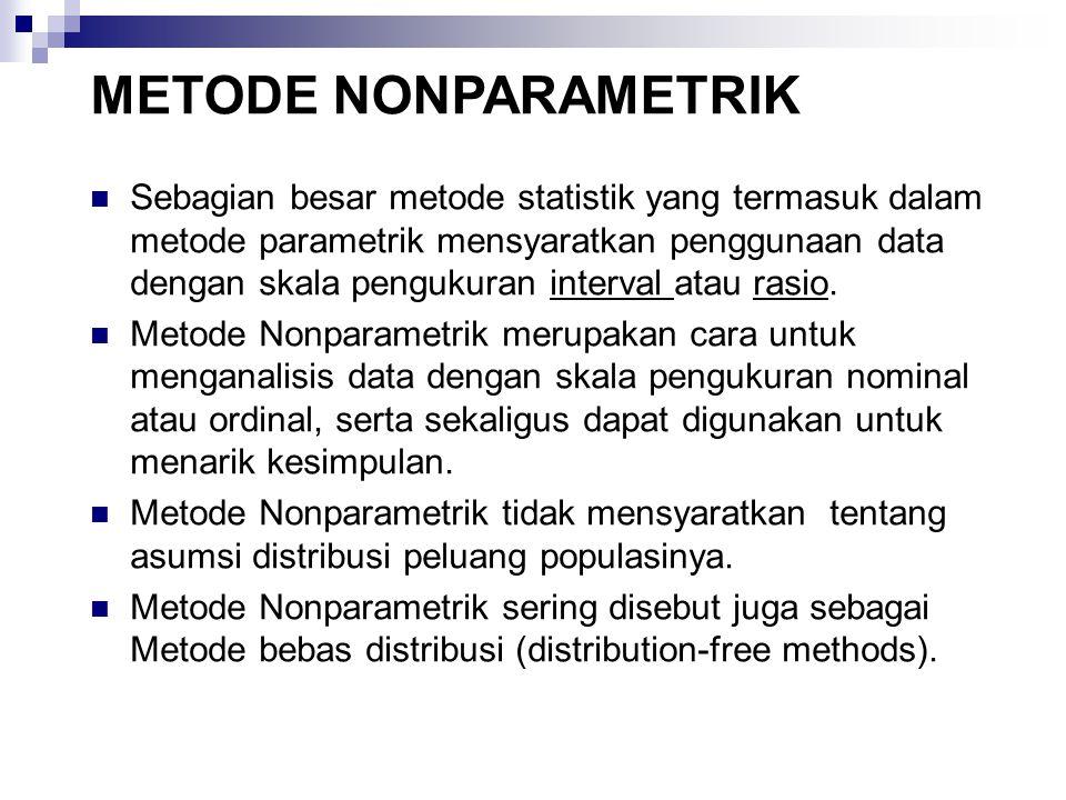 Sebagian besar metode statistik yang termasuk dalam metode parametrik mensyaratkan penggunaan data dengan skala pengukuran interval atau rasio. Metode