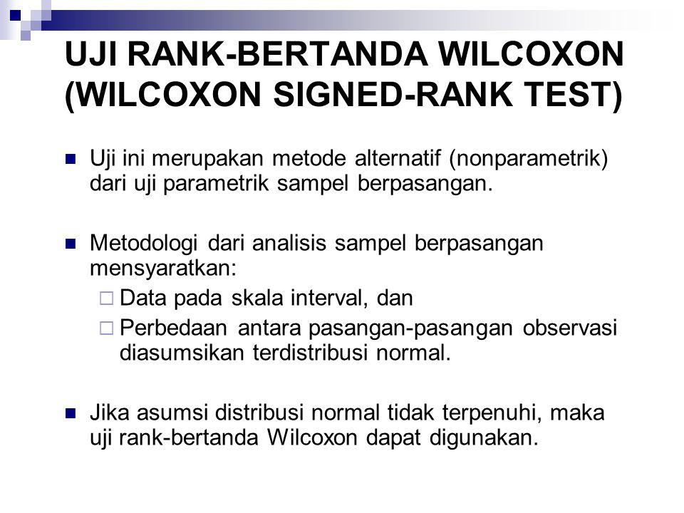 UJI RANK-BERTANDA WILCOXON (WILCOXON SIGNED-RANK TEST) Uji ini merupakan metode alternatif (nonparametrik) dari uji parametrik sampel berpasangan. Met