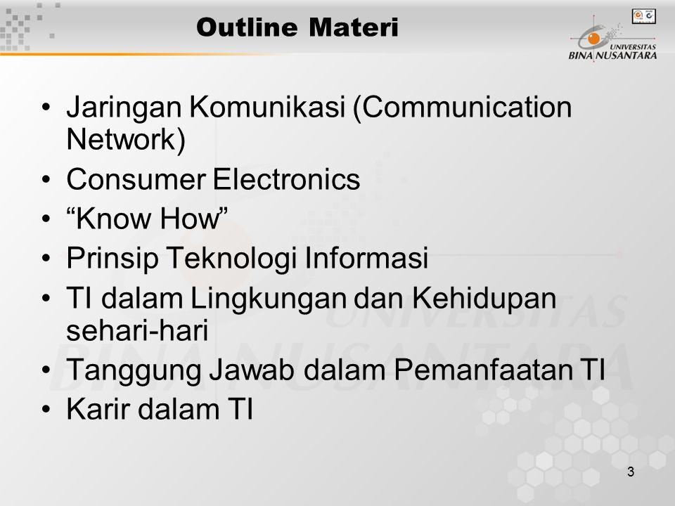 3 Outline Materi Jaringan Komunikasi (Communication Network) Consumer Electronics Know How Prinsip Teknologi Informasi TI dalam Lingkungan dan Kehidupan sehari-hari Tanggung Jawab dalam Pemanfaatan TI Karir dalam TI