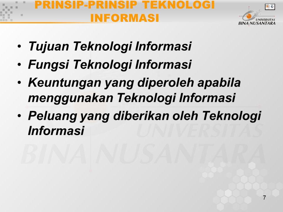 7 PRINSIP-PRINSIP TEKNOLOGI INFORMASI Tujuan Teknologi Informasi Fungsi Teknologi Informasi Keuntungan yang diperoleh apabila menggunakan Teknologi Informasi Peluang yang diberikan oleh Teknologi Informasi