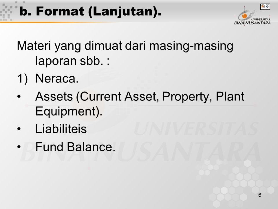 6 b. Format (Lanjutan). Materi yang dimuat dari masing-masing laporan sbb. : 1)Neraca. Assets (Current Asset, Property, Plant Equipment). Liabiliteis