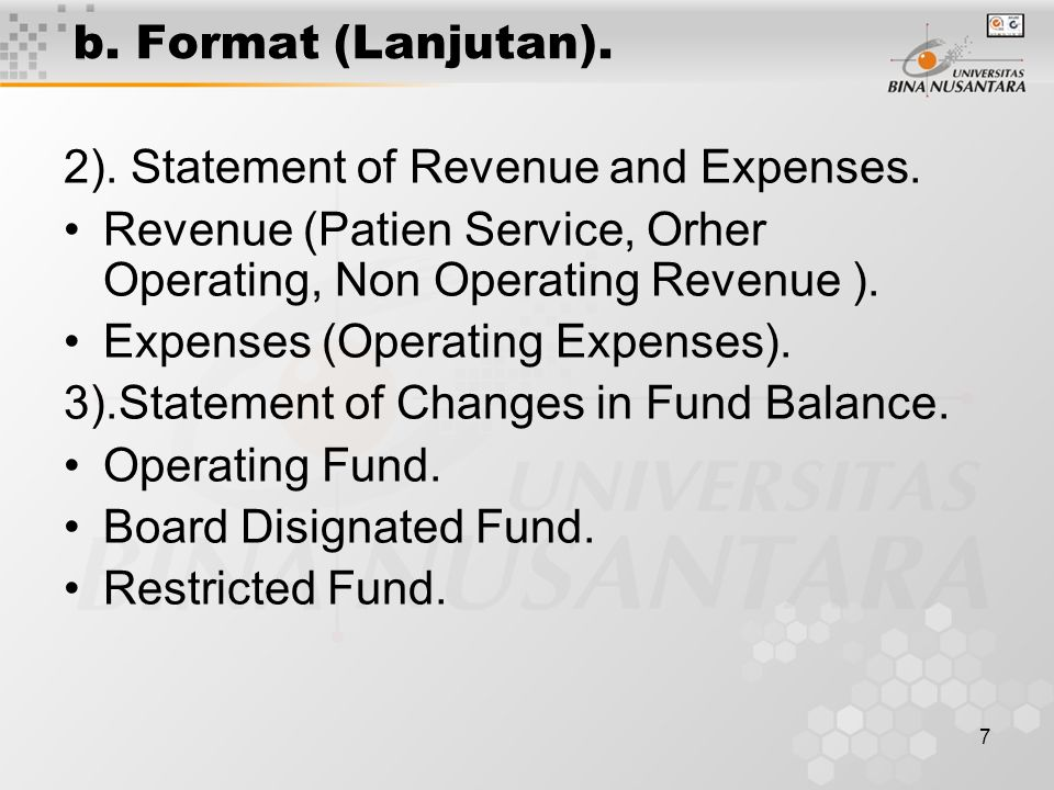 8 B Format (Lanjutan).4).Statement of Changes in Financial Posisition For Year Ended Dec.31, 20x1.