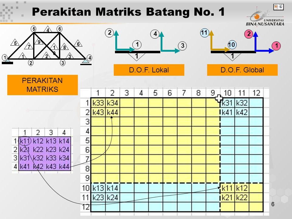 6 Perakitan Matriks Batang No. 1 2 5 3 4 6 1 1010 6 4 3 2 1 5 9 8 7 2 1 1 4 3 11 10 2 1 1 D.O.F. LokalD.O.F. Global PERAKITAN MATRIKS