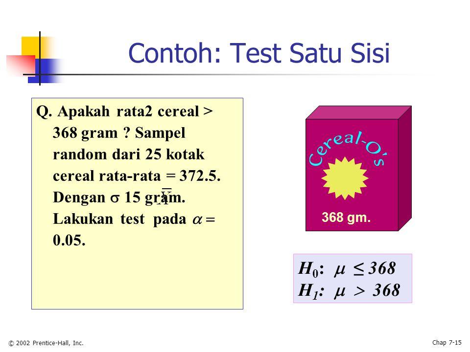 © 2002 Prentice-Hall, Inc. Chap 7-15 Contoh: Test Satu Sisi Q.