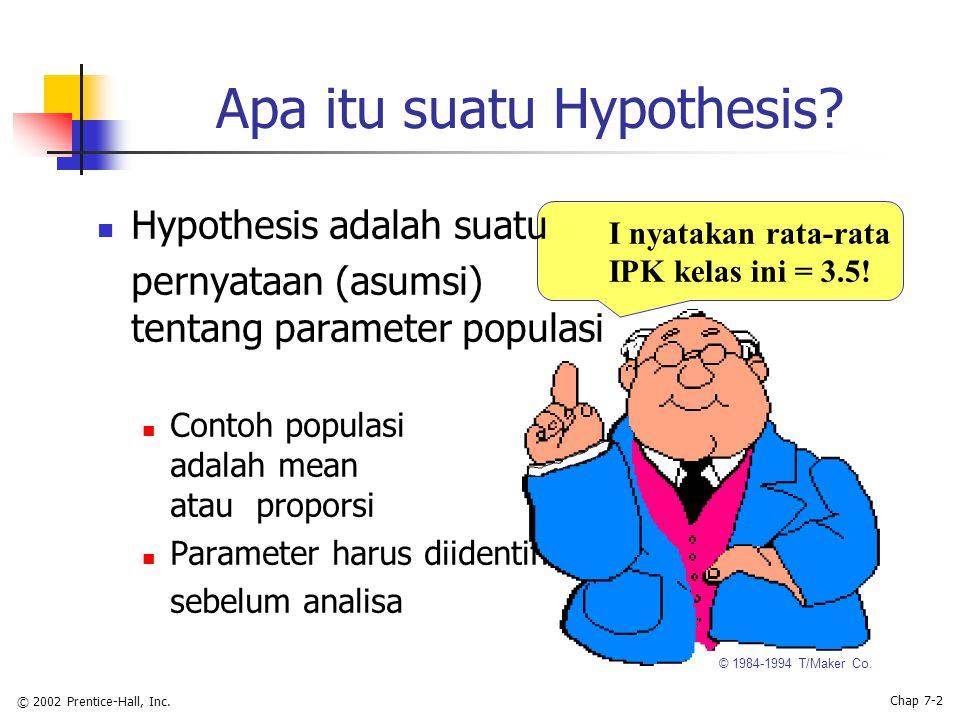 © 2002 Prentice-Hall, Inc. Chap 7-2 Apa itu suatu Hypothesis.