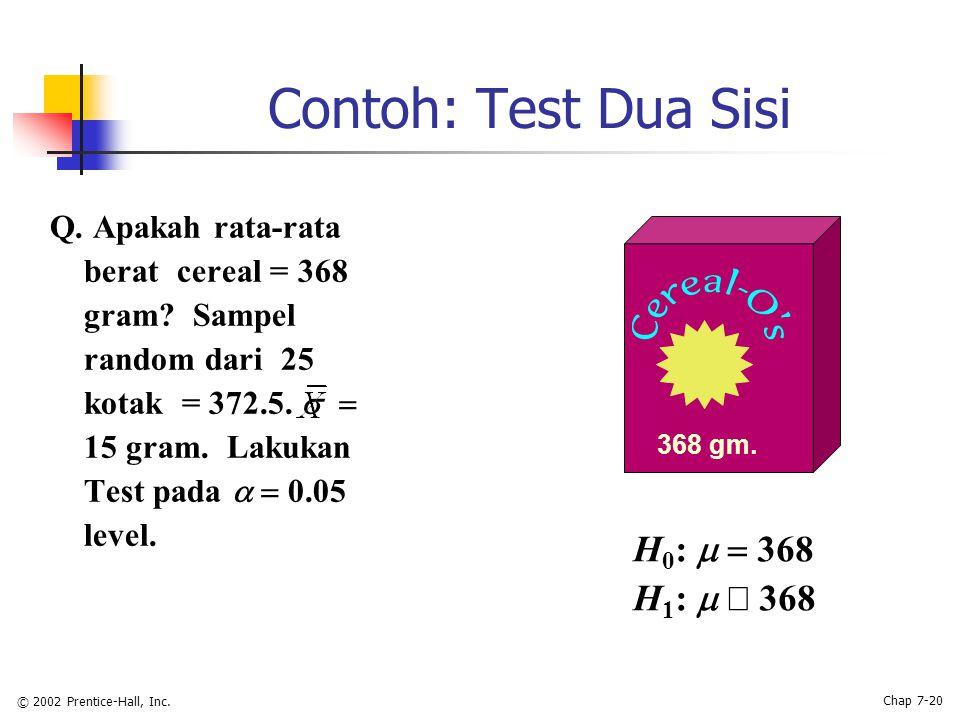 © 2002 Prentice-Hall, Inc. Chap 7-20 Contoh: Test Dua Sisi Q.