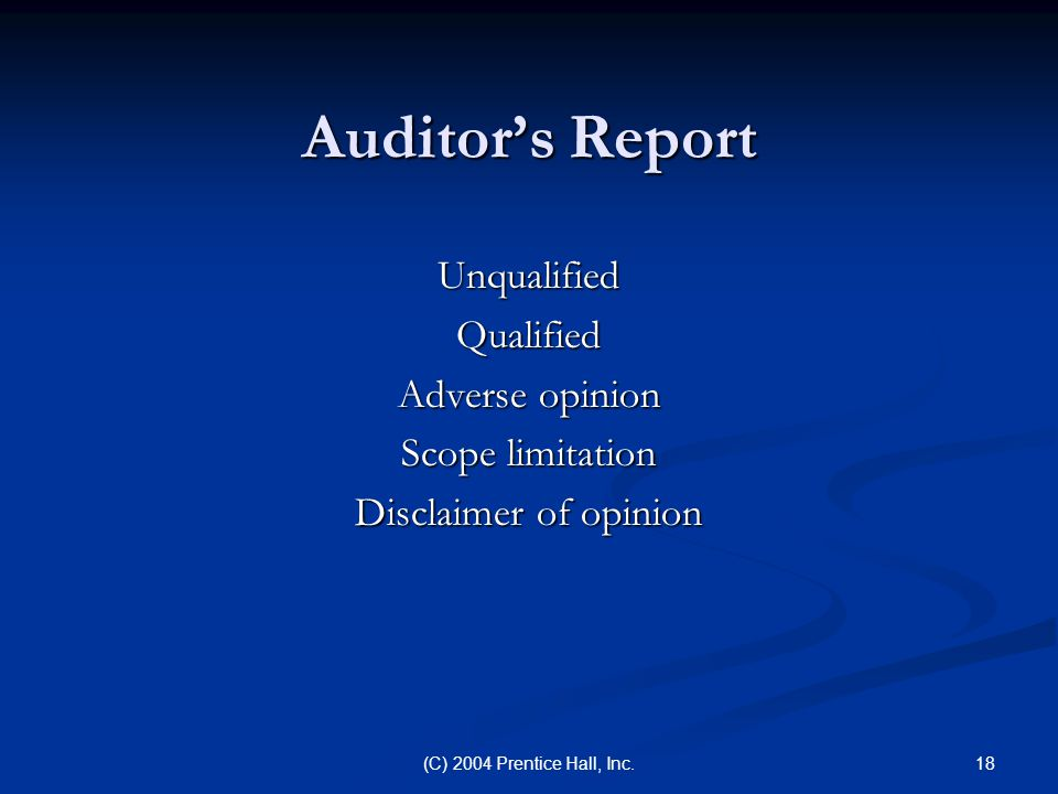 18(C) 2004 Prentice Hall, Inc. Auditor's Report UnqualifiedQualified Adverse opinion Scope limitation Disclaimer of opinion