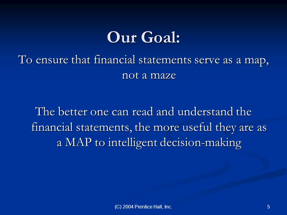 5(C) 2004 Prentice Hall, Inc. Our Goal: To ensure that financial statements serve as a map, not a maze The better one can read and understand the fina