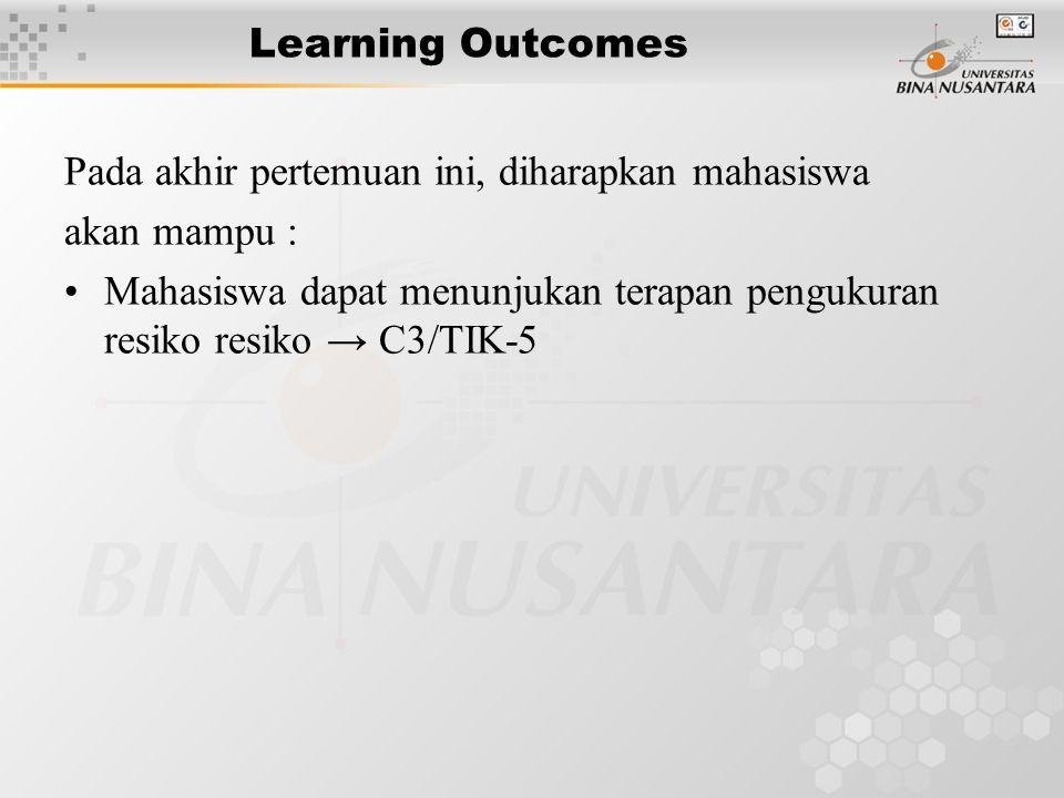 Learning Outcomes Pada akhir pertemuan ini, diharapkan mahasiswa akan mampu : Mahasiswa dapat menunjukan terapan pengukuran resiko resiko → C3/TIK-5