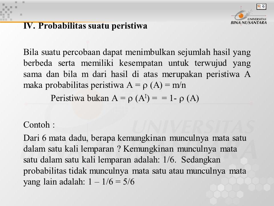 IV. Probabilitas suatu peristiwa Bila suatu percobaan dapat menimbulkan sejumlah hasil yang berbeda serta memiliki kesempatan untuk terwujud yang sama