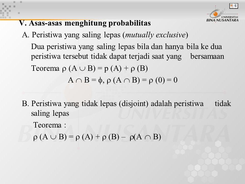 V. Asas-asas menghitung probabilitas A. Peristiwa yang saling lepas (mutually exclusive) Dua peristiwa yang saling lepas bila dan hanya bila ke dua pe