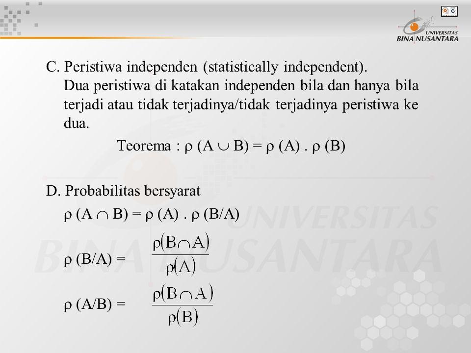 C. Peristiwa independen (statistically independent). Dua peristiwa di katakan independen bila dan hanya bila terjadi atau tidak terjadinya/tidak terja