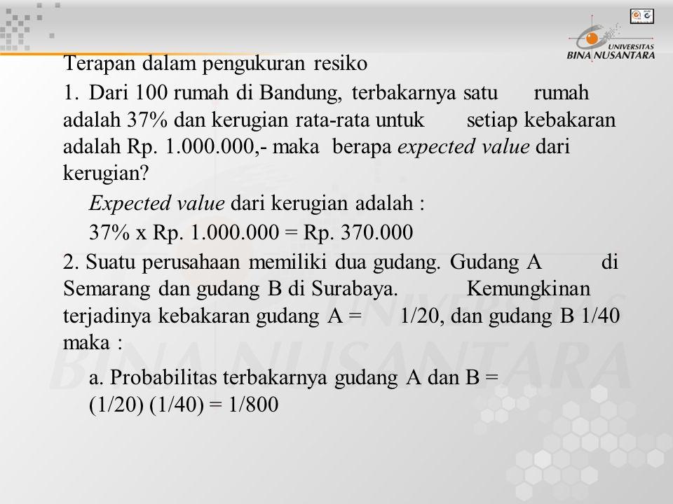 b.Probabilitas terbakarnya gudang A dan bukan B = (1/20) (1-1/40) = 39/800 c.Probabilitas tidak terbakarnya gudang A dan juga B = (1- 1/20) (1- 1/40) = 741/800 3.
