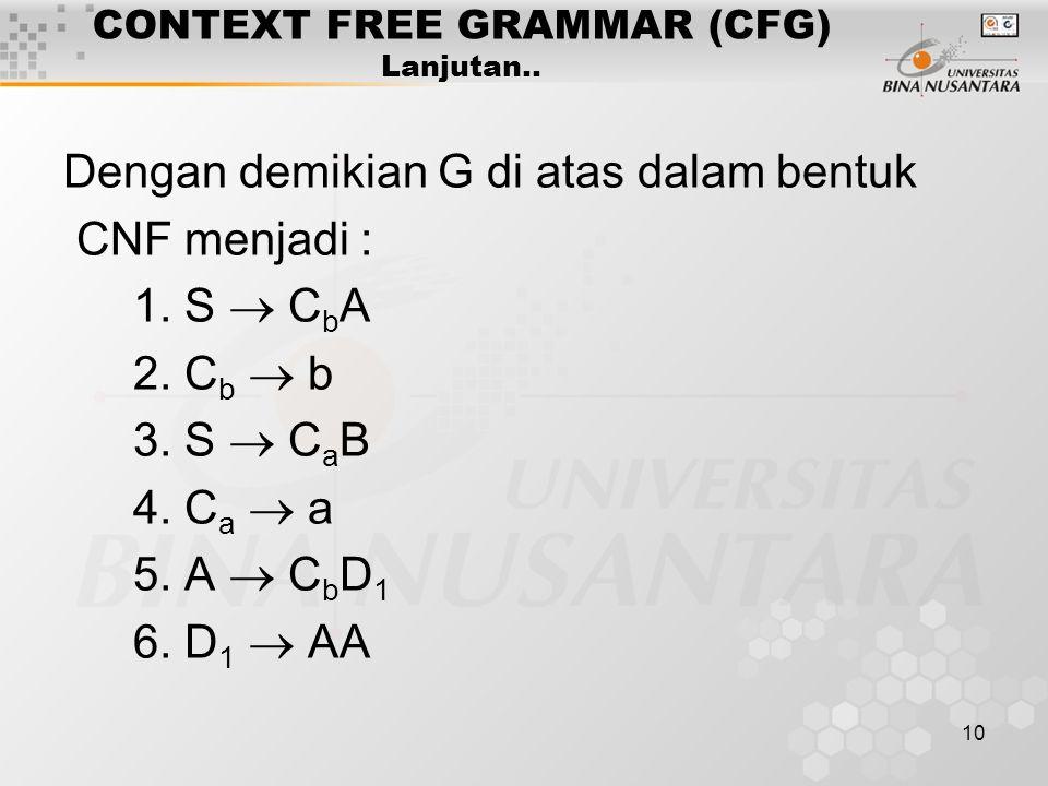 10 CONTEXT FREE GRAMMAR (CFG) Lanjutan.. Dengan demikian G di atas dalam bentuk CNF menjadi : 1. S  C b A 2. C b  b 3. S  C a B 4. C a  a 5. A  C