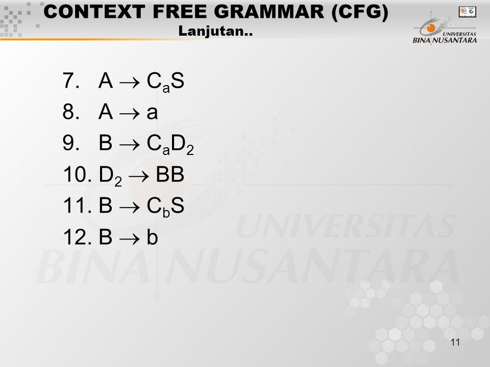 11 CONTEXT FREE GRAMMAR (CFG) Lanjutan.. 7. A  C a S 8. A  a 9. B  C a D 2 10. D 2  BB 11. B  C b S 12. B  b