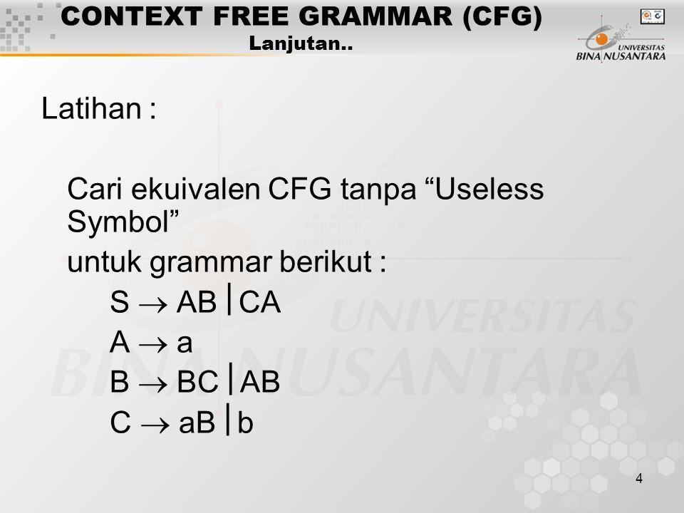"4 CONTEXT FREE GRAMMAR (CFG) Lanjutan.. Latihan : Cari ekuivalen CFG tanpa ""Useless Symbol"" untuk grammar berikut : S  AB  CA A  a B  BC  AB C "