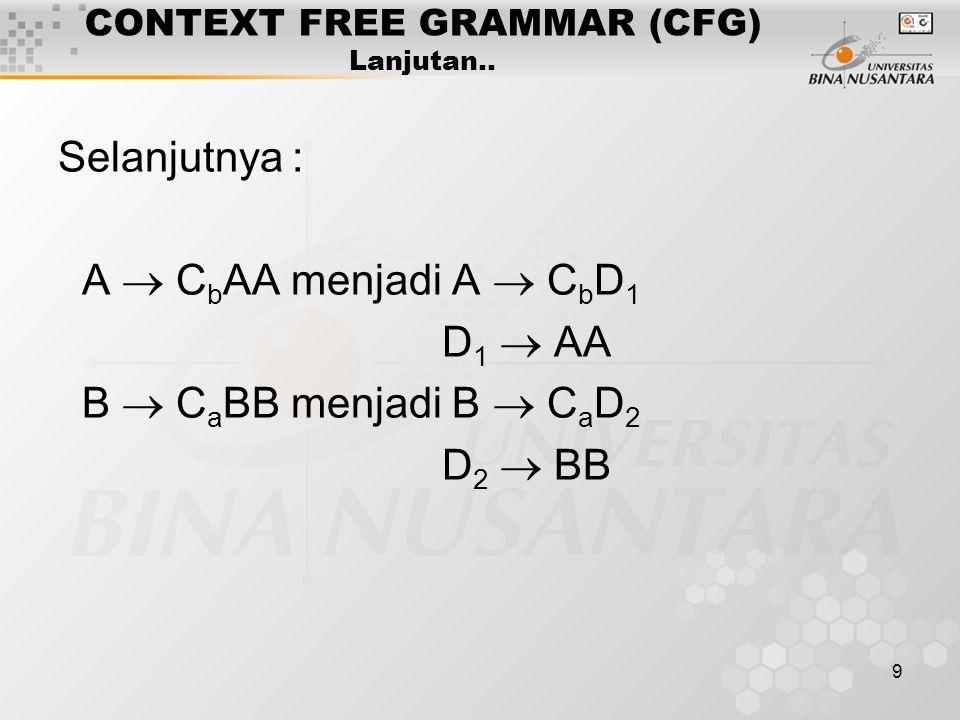 9 CONTEXT FREE GRAMMAR (CFG) Lanjutan.. Selanjutnya : A  C b AA menjadi A  C b D 1 D 1  AA B  C a BB menjadi B  C a D 2 D 2  BB