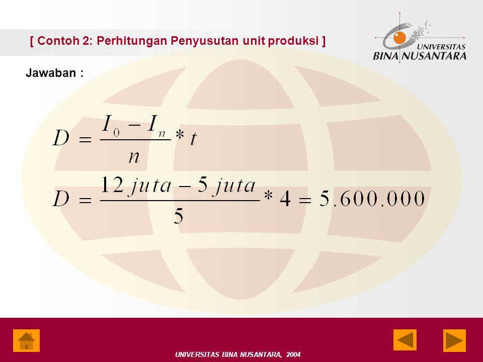 UNIVERSITAS BINA NUSANTARA, 2004 [ Contoh 2: Perhitungan Penyusutan unit produksi ] Jawaban :