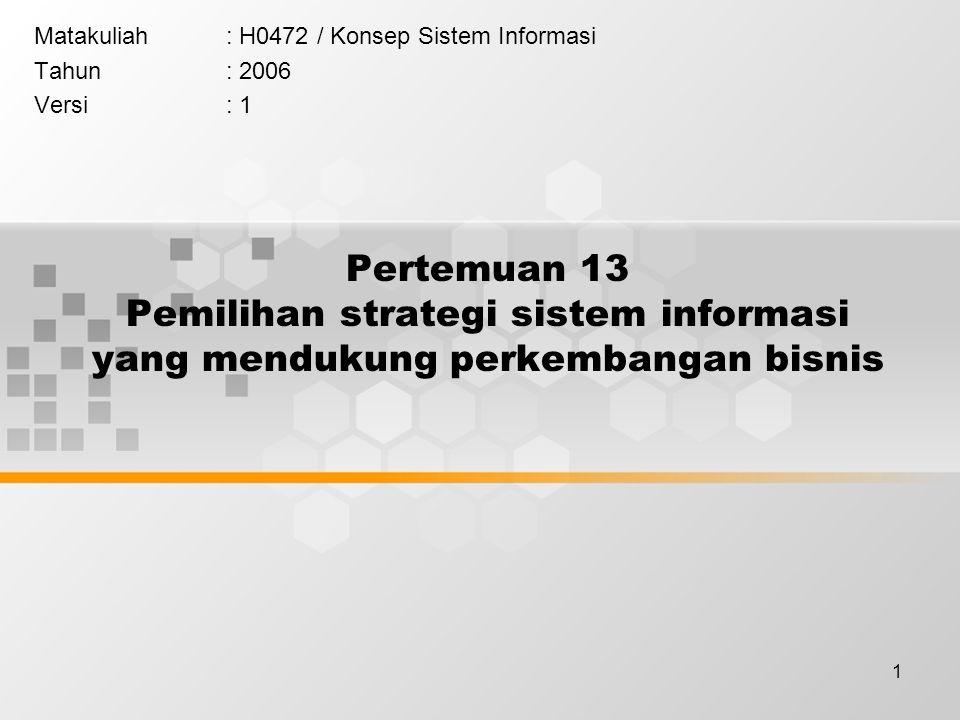 1 Pertemuan 13 Pemilihan strategi sistem informasi yang mendukung perkembangan bisnis Matakuliah: H0472 / Konsep Sistem Informasi Tahun: 2006 Versi: 1