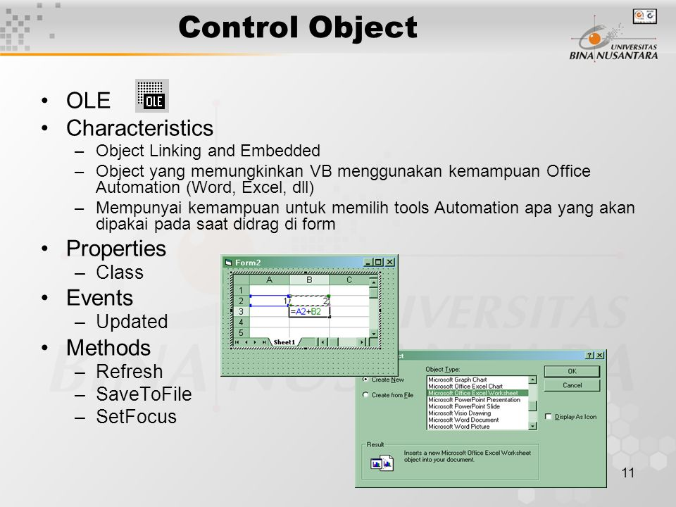 11 Control Object OLE Characteristics –Object Linking and Embedded –Object yang memungkinkan VB menggunakan kemampuan Office Automation (Word, Excel,