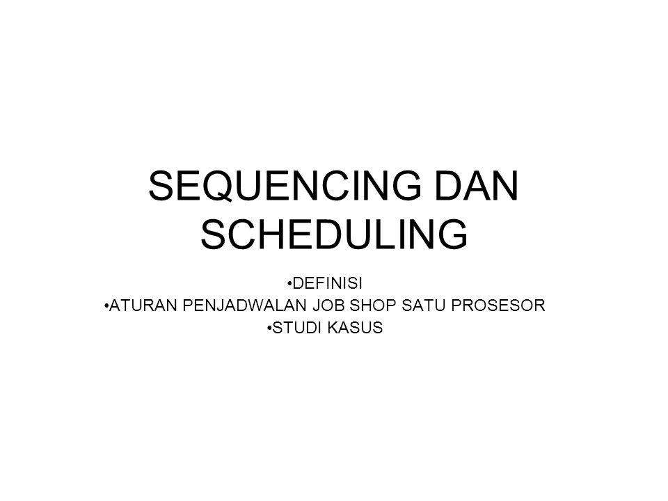 SEQUENCING Atau disebut dengan Teknik Urutan Permasalahan pengurutan adalah menentukan order atau urutan operasi, proses atau pembuatan suatu kumpulan produk melalui satu atau beberapa fasilitas (mesin/orang) secara optimum