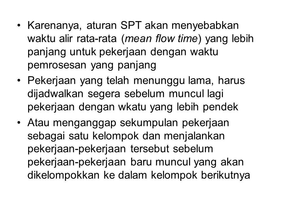 Karenanya, aturan SPT akan menyebabkan waktu alir rata-rata (mean flow time) yang lebih panjang untuk pekerjaan dengan waktu pemrosesan yang panjang P