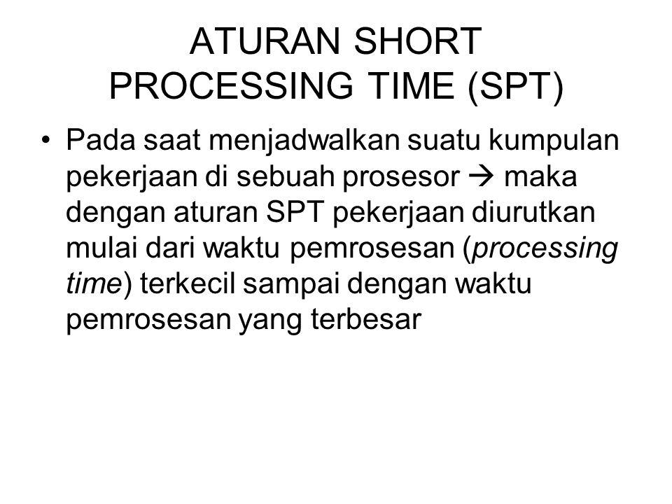 Aturan SPT ini berguna untuk meminimasi waktu alir rata-rata (mean flow time) dan meinimasi kelambatan rata-rata (mean lateness) pada sebuah prosesor tunggal yang harus mengerjakan sekumpulan pekerjaan