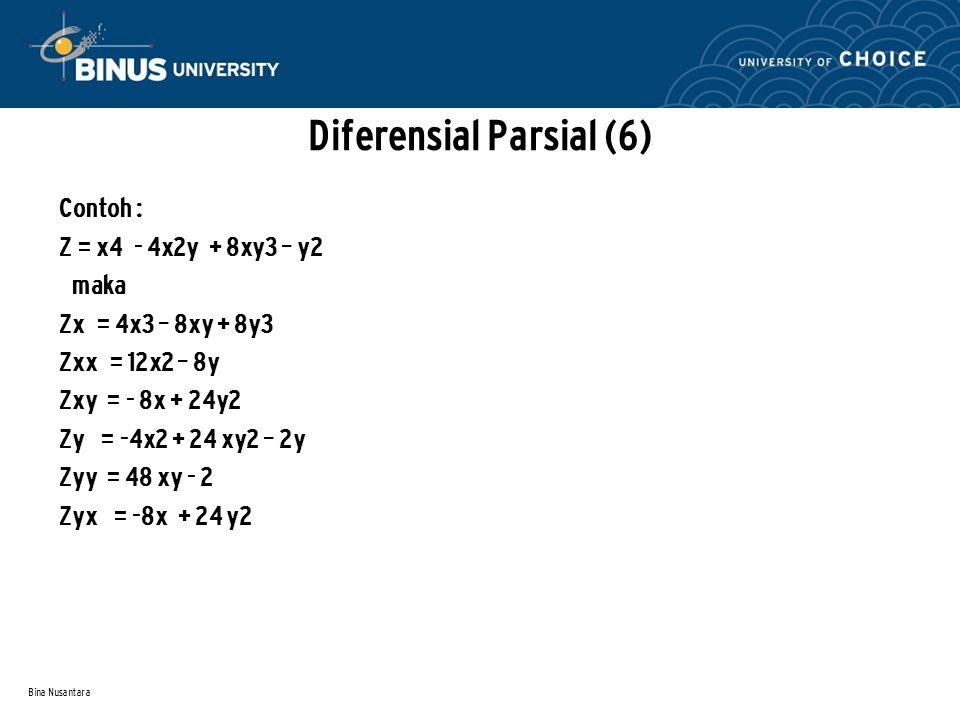 Bina Nusantara Contoh : Z = x4 - 4x2y + 8xy3 – y2 maka Zx = 4x3 – 8xy + 8y3 Zxx = 12x2 – 8y Zxy = - 8x + 24y2 Zy = -4x2 + 24 xy2 – 2y Zyy = 48 xy - 2
