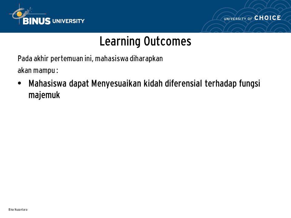 Bina Nusantara Pada akhir pertemuan ini, mahasiswa diharapkan akan mampu : Mahasiswa dapat Menyesuaikan kidah diferensial terhadap fungsi majemuk Lear